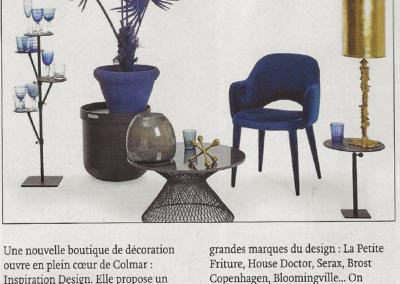 Article de presse magazine JDS avril 2018 concernant l'ouverture de la boutique Inspiration Design à Colmar