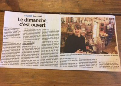 Article de presse DNA décembre 2018 concernant l'ouverture dominicale chez Inspiration Design à Colmar