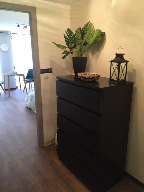 Ameublement, décoration, agencement et installation de tout le mobilier pour un Studio F1 en gestion locative à Colmar par Inspiration Design : décoratrice UFDI Colmar (vue entrée)