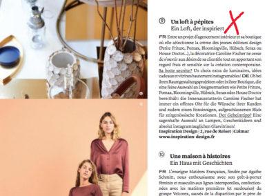 Article de presse magazine ZUT Automne-Hiver 2019 concernant la boutique Inspiration Design à Colmar