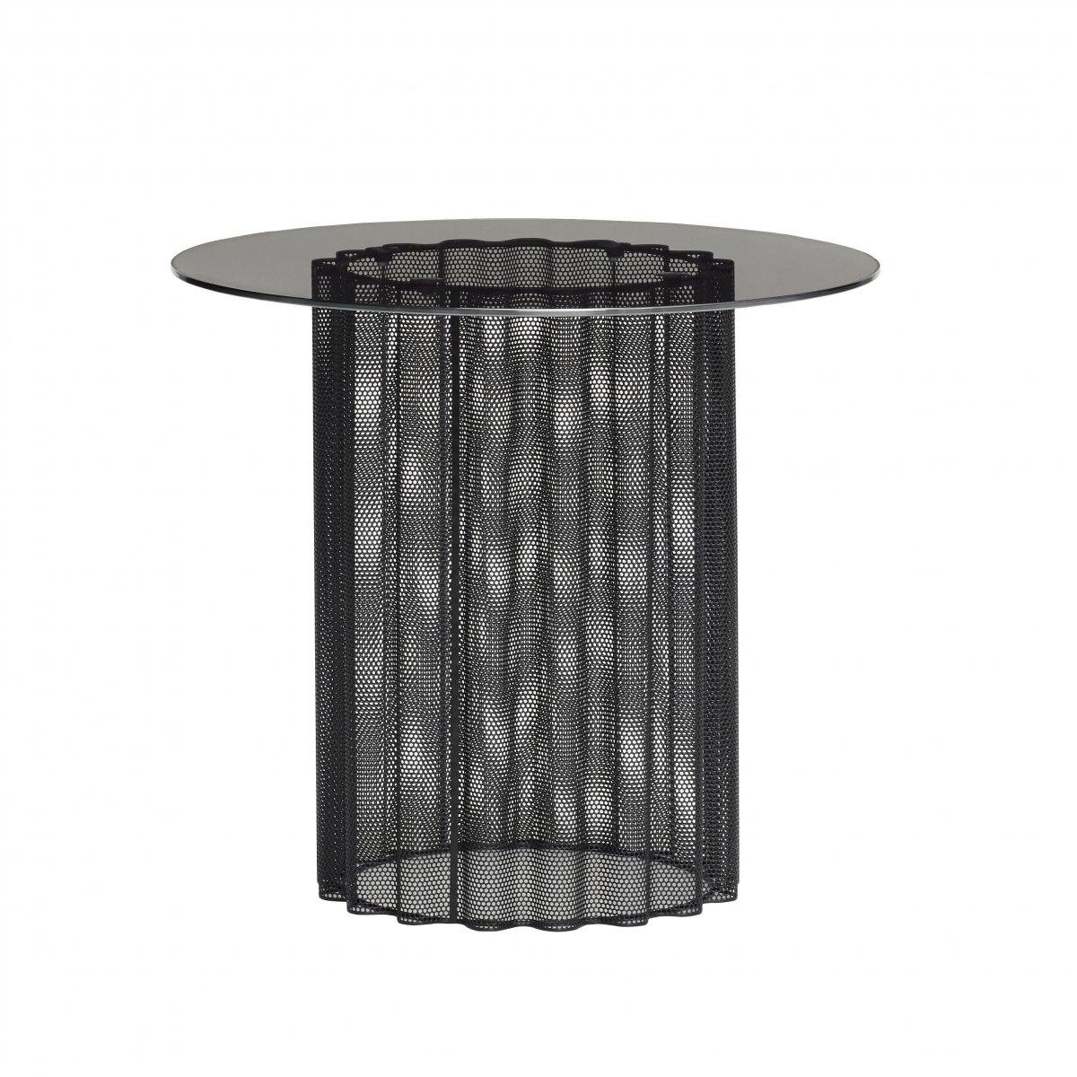 Table basse métal ajouré + plateau verre Dia 45cm 170€ chez Inspiration Design à Colmar