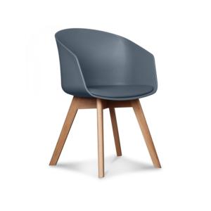 Chaise grise plexi/simili cuir pieds bois H78cm L51cm