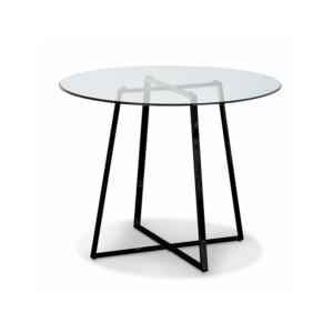 Table en verre pieds métal H 75cm Dia 97cm 450€ chez Inspiration Design à Colmar