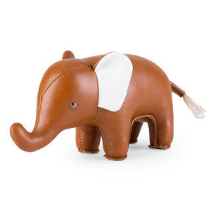 Éléphant marron en cuir 250gr 39€ chez Inspiration Design à Colmar