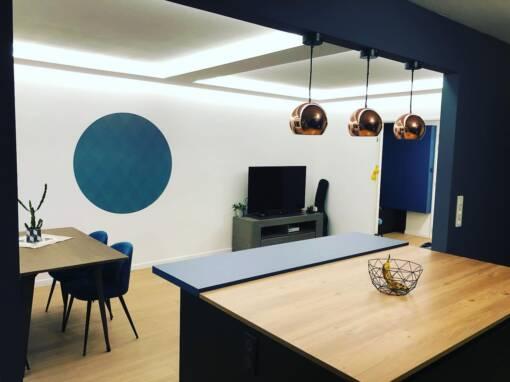 Rénovation d'un salon ouvert sur la cuisine à Colmar