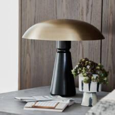 Lampe à poser métal noir/laiton H43cm dia 40cm à 250€ chez Inspiration Design à Colmar