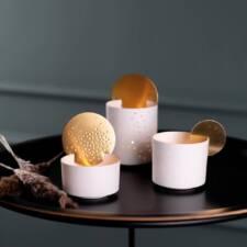 Photophore porcelaine médaillon doré de 13 à 19€ chez Inspiration Design à Colmar